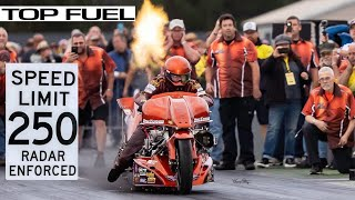 mUST SEE TOP FUEL NITRO MOTORCYCLE COMES OUT FROM RETIREMENT TO BATTLE SUPERCHARGED NITRO HARLEY!