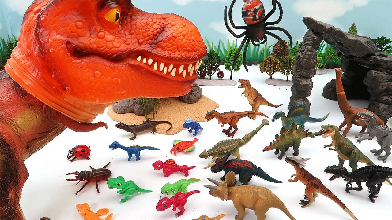 Lot's Of Dinosaur Eggs, Monsters In Tyrannosaurus Heads - Dinosaur Toys For Kids