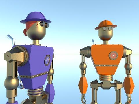 Bridge Building Robots - Free STEM Children's Books developed in Sketchup