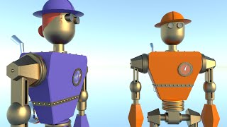Bridge Building Robots - Free Stem Children's Books Developed In Sketchup