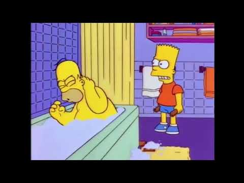 Bart hits Homer with a chair but it's Despacito