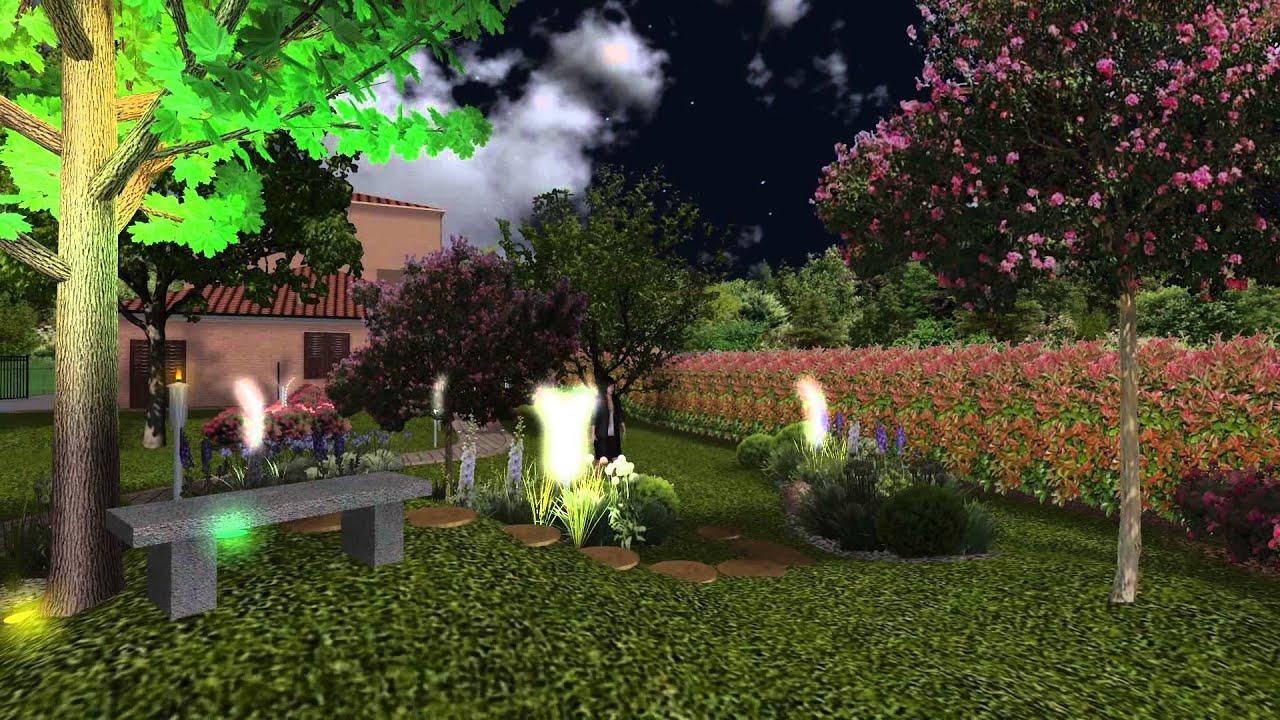 Giardino moderna in villetta a schiera illuminazione youtube - Giardini di villette ...