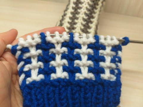 Ленивый жаккард , 2 цвета нити и 4 ряда. Вязание спицами.