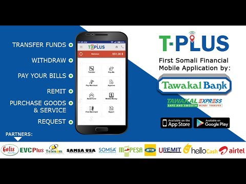 T-Plus International Mobile money transfer App | Uses in Somalia Language - Tawakal Express