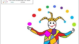 How to draw a harlequin for kids - Nursery rhymes