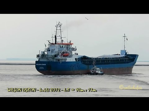 coaster WILSON LISBON 5BNU3 IMO 9617337 outbound Emden cargo seaship merchant vessel KüMo Seeschiff