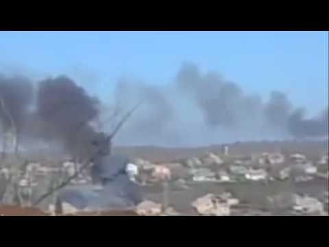 Jackpot! APU artillery destroyed KRAZ Russian terrorists with ammunition 16 02 2015.Ukraine War,Toda