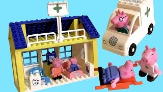 Peppa Pig Blocks Mega Hospital Building Playset with Ambulance -  Juego de Bloques Construcciones