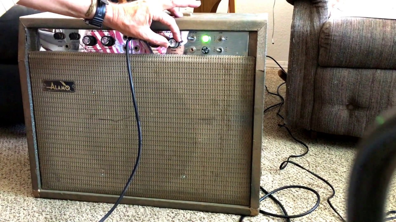 hight resolution of 1965 all tube alamo futura guitar amplifier demo