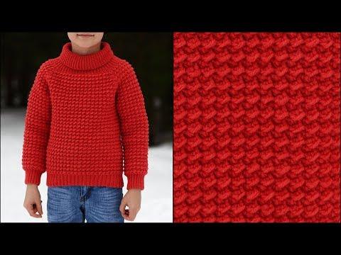 Детский свитер крючком реглан