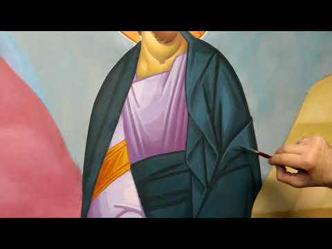Icon Painting. How to Paint a garment. By Theodoros Papadopoulos