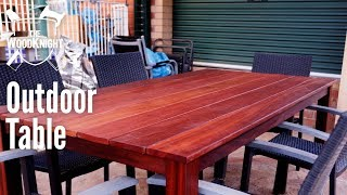 We had outdoor chairs, but no outdoor table? I fixed that by making a table from karri decking boards for the top, and jarrah for base