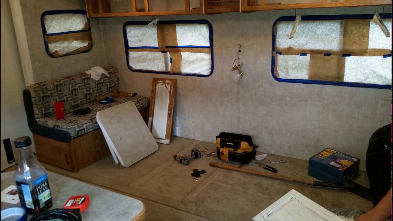 Our first travel trailer renovation - YouTube on architecture building event ideas, fema camp columbus ohio, fema camper roof, airstream restoration ideas,