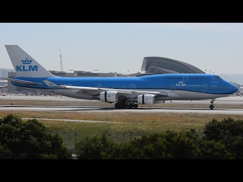 KLM - Royal Dutch Airlines Boeing 747-400 Combi [PH-BFT] Landing at LAX.