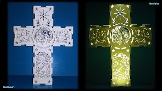 Decorative Cross Original Design. Paper Cut / Kirigami
