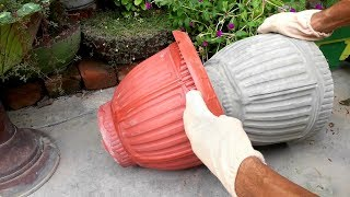 How to make beautiful cement pot at home easily || Creative flower pots ideas.