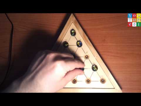 Peg Board Game - Marble Triangle Solitaire 10 Solutions (Start 1 - Target 1)