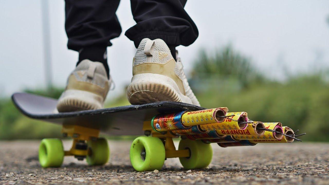 ROCKET WALA SKATEBOARD |  रॉकेट से चलाया स्केटिंग बोर्ड