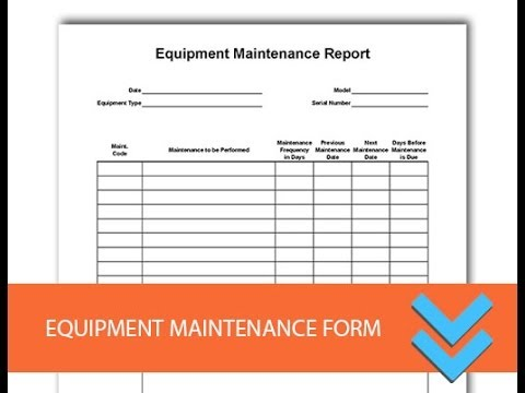 free equipment maintenance log form youtube. Black Bedroom Furniture Sets. Home Design Ideas