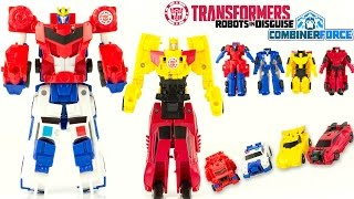 Transformers Combiner Force Robots In Disguise Toy Review Optimus Prime Bumblebee Sideswipe