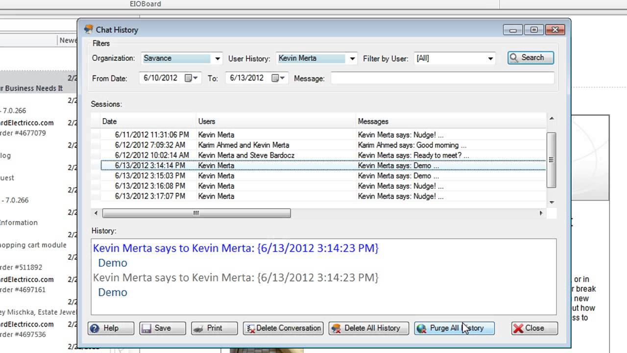 EIOBoard Video Outlook Add in Private Instant Messaging