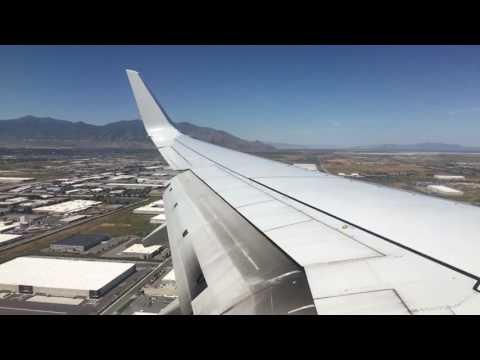 American Airlines 737 landing in Salt Lake City International Airport