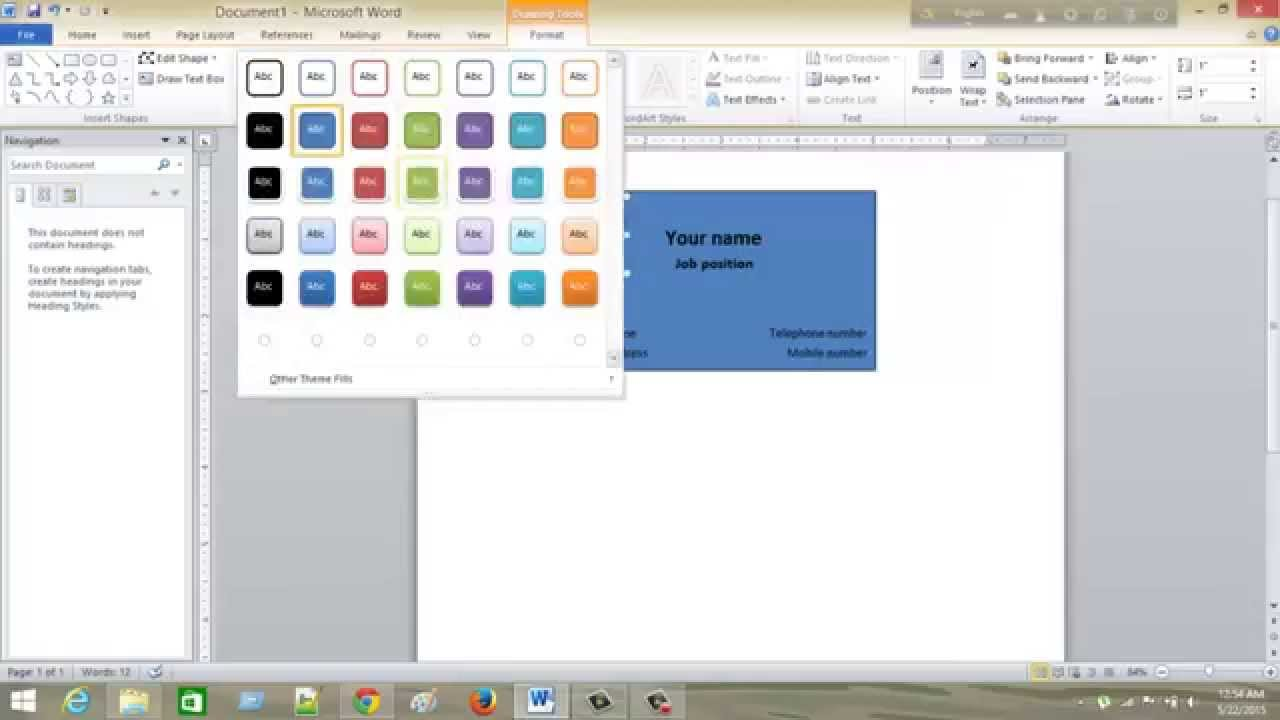 make a simple business card using ms word - YouTube