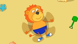 Lion Family We rest on the Beach Cartoon for Kids