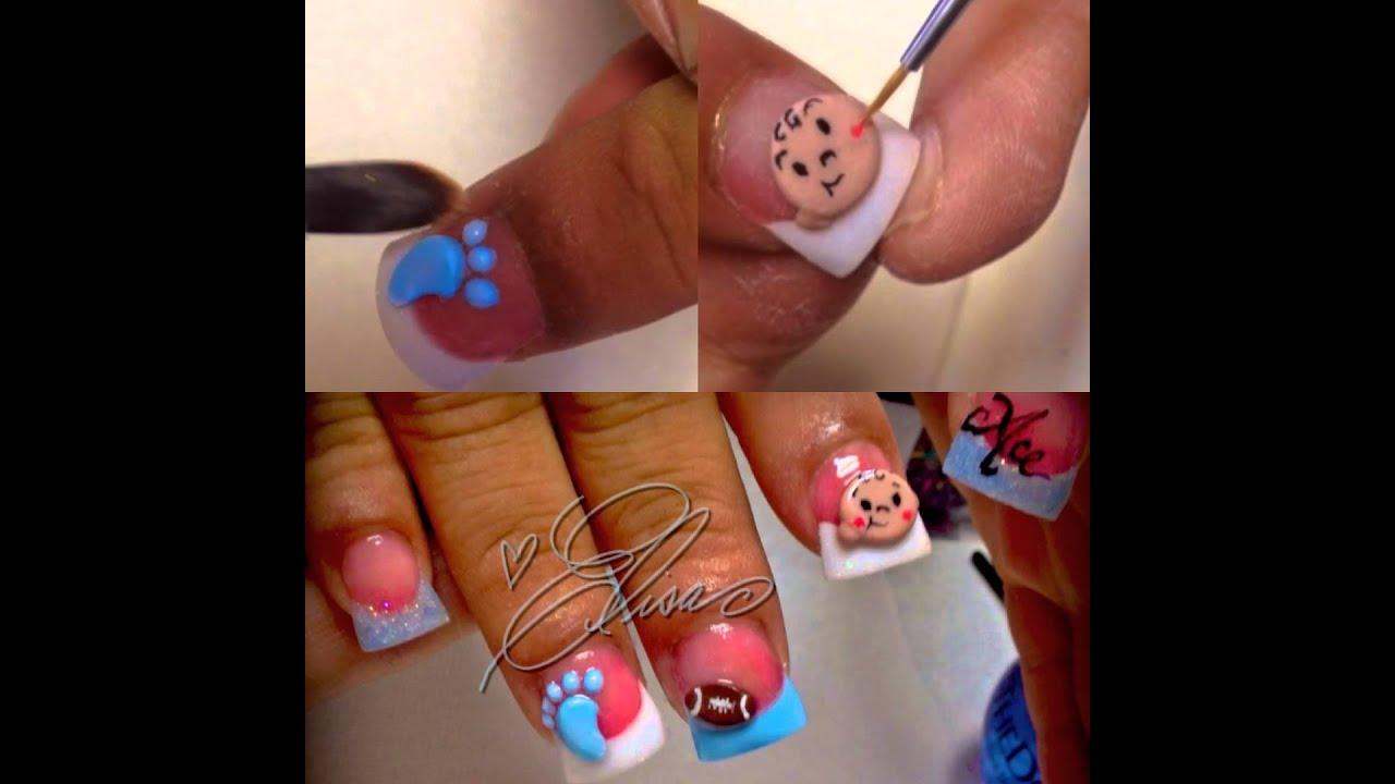 Babyshower nail art - YouTube