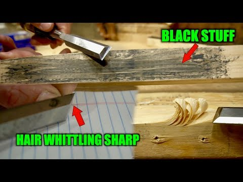 How to sharpen a chisel on sandpaper to hair whittling sharp.