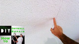 How to repair a cracked drywall ceiling trick! Foot through Attic Drywall Ceiling Easy Fix! (part 1)