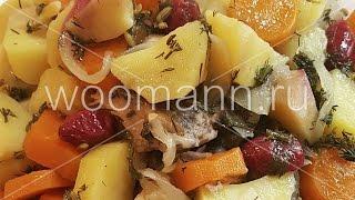 Речная рыба с морковью и луком .Fish with vegetables