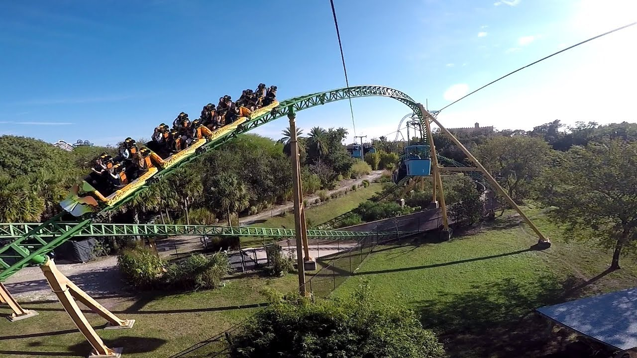 SKYRIDE   Round Trip Cable Car HD POV Busch Gardens Tampa Bay!