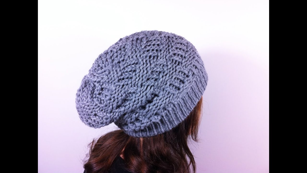 Loom Knitting Beanie Patterns : Como hacer un gorro slouchy beanie en punto canasta con telar circular - YouTube