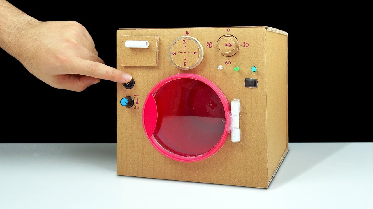 DIY How to Make Washing Machine from Cardboard at Home ...