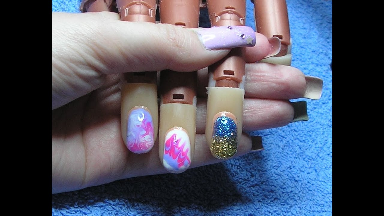 & 3 Quick u0026 Easy Gel Nail Art Designs - YouTube