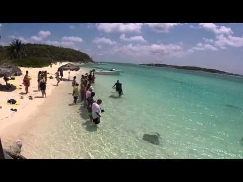 Feeding the stingrays, Exuma Bahamas