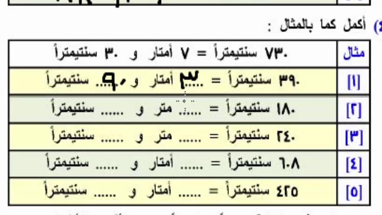 شرح وحده القياس التحويلات من سم الى متر والعكس وتمارين للصف الثانى