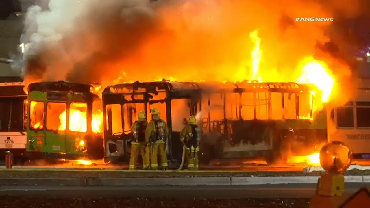 Three passenger buses engulfed in flames at LAX, causing traffic delays | ABC7