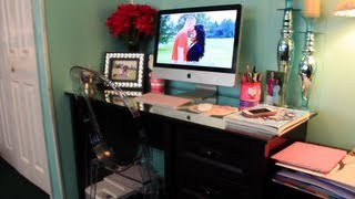 Desk Tour!! + Diy Mirrored Desk