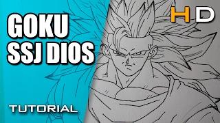 Cómo Dibujar a Goku SSJ Dios Paso a Paso Fácil y Rápido - Dibujo de Goku SSJ Dios