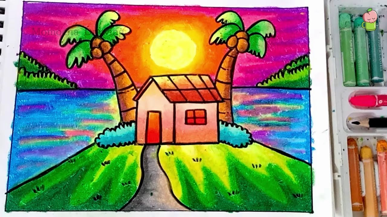 Cara Menggambar Dan Mewarnai Pemandangan Sunset How To Draw Easy Sunset Scenery Oil Pastel