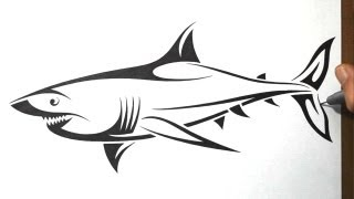 shark drawing outline tribal draw tattoo tattoos drawings designs simple animal happy