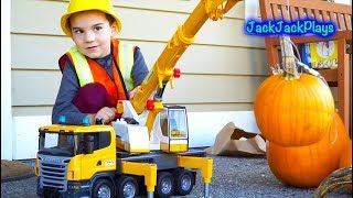 Big Bruder Crane Surprise Toy Unboxing - Playing with Construction Truck