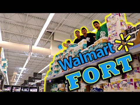 TRIPLE DECKER TOILET PAPER FORT IN WALMART!!