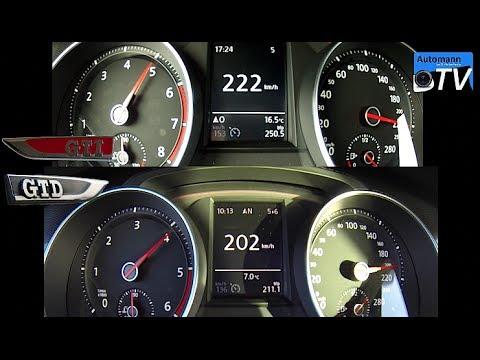 golf 7 gti vs golf 7 gtd 0 220 km h acceleration 1080p. Black Bedroom Furniture Sets. Home Design Ideas