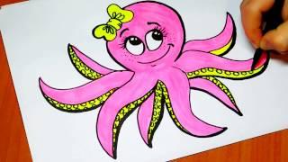 Как нарисовать осьминога девочку / How to draw a octopus girl