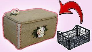 SEBZE KASASINDAN HASIR SANDIK YAPIMI! (Plastik Kasanın Geri Dönüşümü) / How To Make A Recycled Box