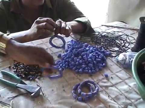 Hand making African (Ghana) trade beads
