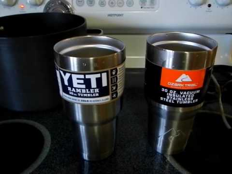 Yeti Vs Ozark Trail Oz Tumblers In Boiling Water Yeti Is Way Overpriced